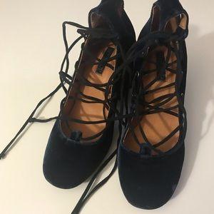 Top shop blue velvet heels lace up